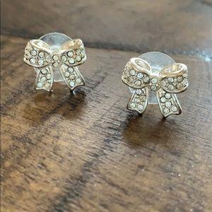 LC silver bow earrings